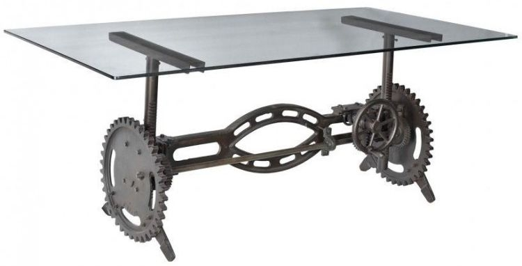 Cast Iron Industrial Glass Top Dining Table with Adjustable Height - 200cm Rectangular