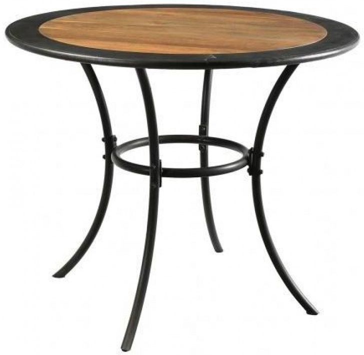 Iron and Reclaimed Timber Round Dining Table - 94cm