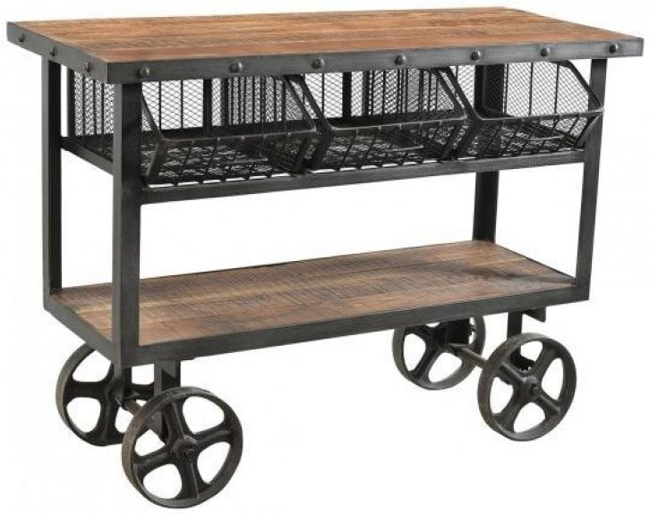 Iron and Reclaimed Timber Trolley with 3 Metal Baskets