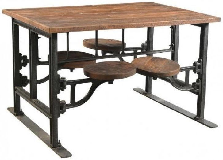 Iron and Wood Industrial Dining Table with Adjustable Swivel Seating - 130cm 4 Seater Rectangular