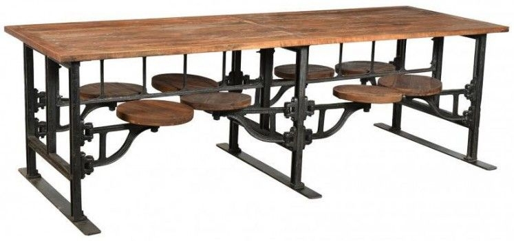 Iron and Wood Industrial 8 Seater Rectangular Dining Table with Adjustable Swivel Seating - 254cm