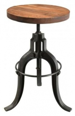 Handicrafts Industrial Adjustable Stool - Iron and Wood