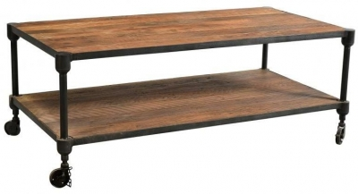 Handicrafts Industrial Coffee Table - Iron and Wood