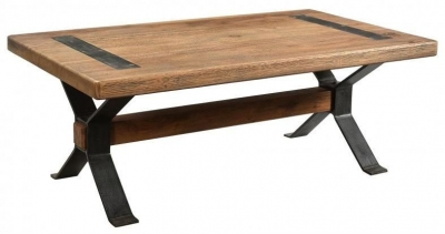 Handicrafts Industrial Coffee Table with Cross Legs - Iron and Wood