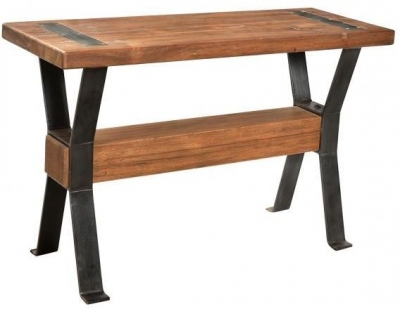 Handicrafts Industrial Console Table with Cross Legs - Iron and Wood