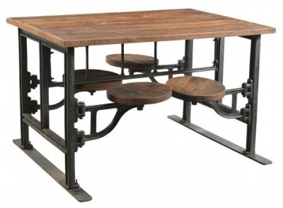 Handicrafts Industrial Dining Table with 4 Adjustable Swivel Seating - Iron and Wood