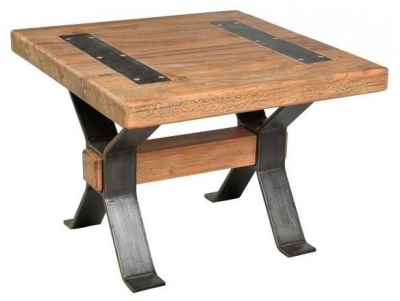 Handicrafts Industrial End Table with Cross Legs - Iron and Wood