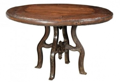 Handicrafts Industrial Round Dining Table - Iron and Wood