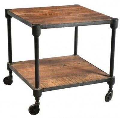 Handicrafts Industrial Side Table - Iron and Wood