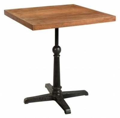 Handicrafts Industrial Square Cafe Pedestal Table - Iron and Wood
