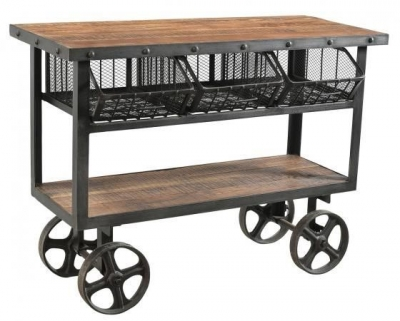 Handicrafts Industrial Trolley With 3 Metal Baskets - Iron and Wood