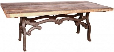 Handicrafts Industrial Ornate Cast 210cm Dining Table - Iron and Wood