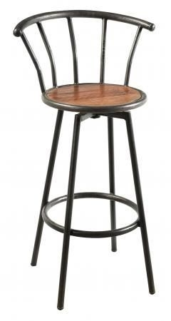 Handicrafts Industrial Bar Stool - Iron and Wood