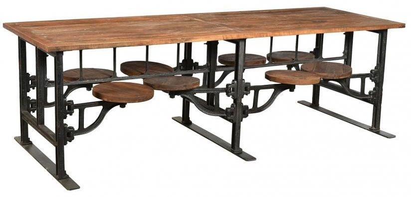 Handicrafts Industrial Dining Table with 8 Adjustable Swivel Seating - Iron and Wood