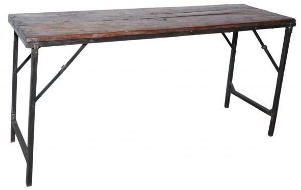 Handicrafts Industrial Folding Bar Table - Iron and Wood