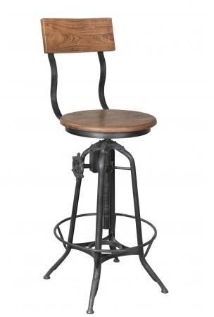 Handicrafts Industrial Round Bar Stool - Iron and Wood