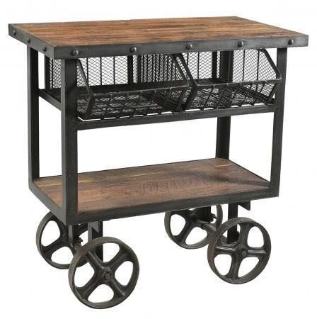 Handicrafts Industrial Trolley With 2 Metal Baskets - Iron and Wood
