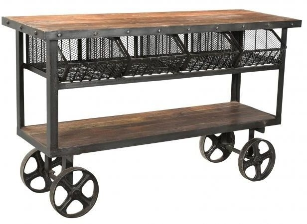 Handicrafts Industrial Trolley With 4 Metal Baskets - Iron and Wood