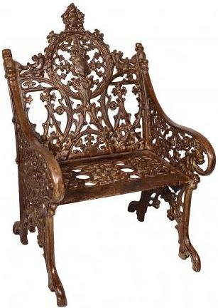 Handicrafts Industrial Ornate Antique Cast Iron Chair