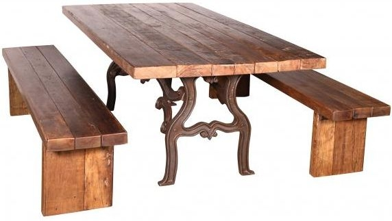 Handicrafts Industrial Ornate Cast 210cm Dining Table with 2 Bench - Iron and Wood