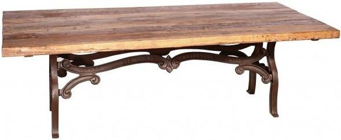 Handicrafts Industrial Ornate Cast 245cm Dining Table - Iron and Wood