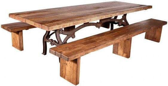 Handicrafts Industrial Ornate Cast 245cm Dining Table with 2 Bench - Iron and Wood