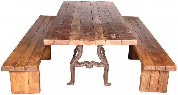 Handicrafts Industrial Ornate Cast 305cm Dining Table with 2 Bench - Iron and Wood