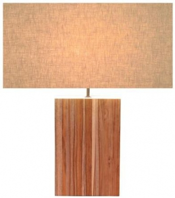 Line Teak Table Lamp - Large Off White Rectangular Shade