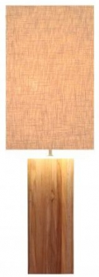 Line Teak Table Lamp - Off White Large Rectangular Shade