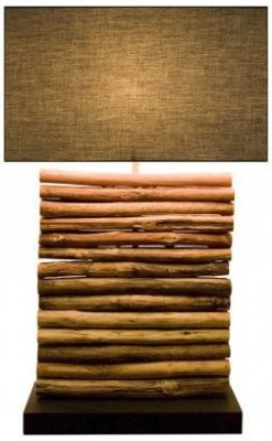 Linea Driftwood Lamp - Rectangular Brown Cotton Shade