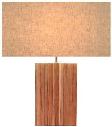 Line Teak Table Lamp - Large Off White Rectangular Shade