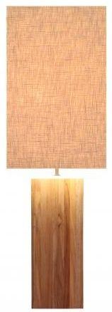 Line Teak Table Lamp - Off White Large Rectangular Shade