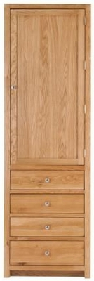 Handmade Oak 1 Right Door 4 Drawer Tall Larder Cabinet
