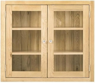 Handmade Oak 2 Door Glazed Wall Cabinet