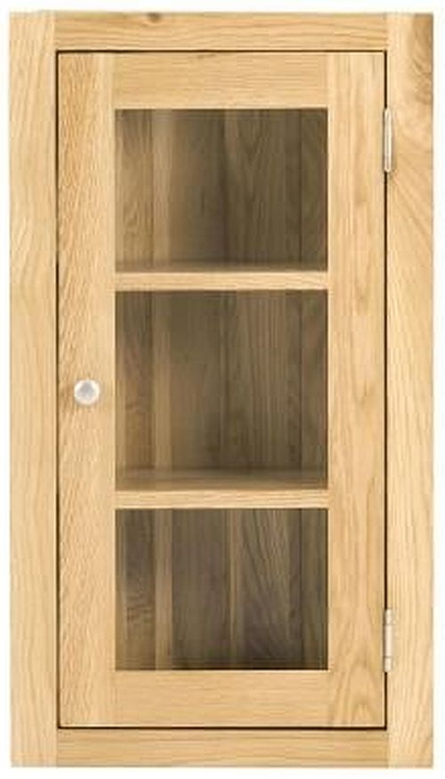 Handmade Oak 1 Right Door Glazed Wall Cabinet