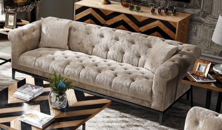 Harlow Tufted 3 Seater Fabric Sofa
