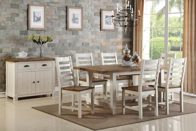 Industrial Oak Dining Set with 6 Dining Chair