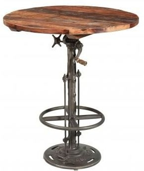 Industrial Originals Adjustable Bar Table - Wood and Metal