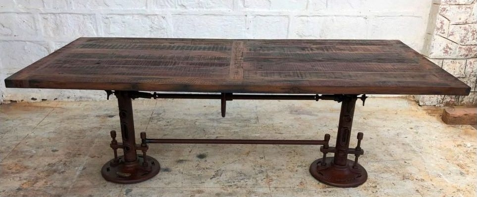 Industrial Originals Adjustable Dining Table - Wood and Metal