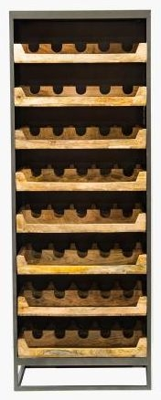 Industrial  Wood and Metal Wine Rack Cabinet