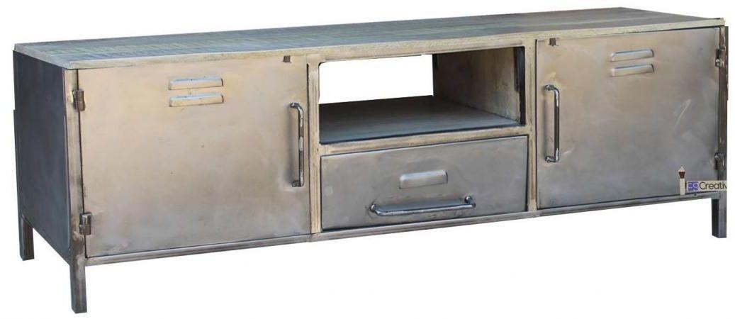 Industrial Metal 2 Door 1 Drawer TV Unit