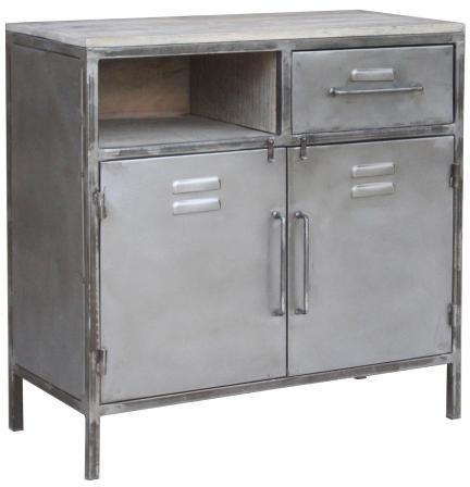 Industrial Metal 2 Door 2 Drawer Cabinet