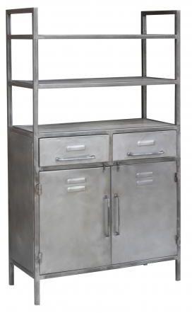 Industrial Metal 2 Door 2 Drawer Shelving Unit