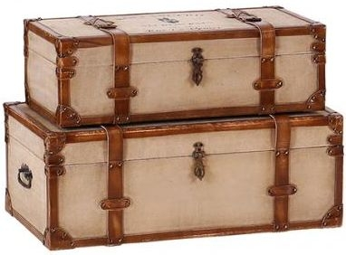 Lauren Wide Canvas and Leather Trunks (Set of 2)