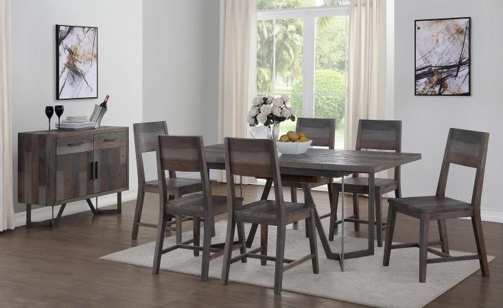 London Rectangular Extending Dining Set with 6 Dining Chairs - 140cm-180cm