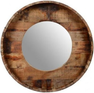 Reclaimed Teak Round Mirror