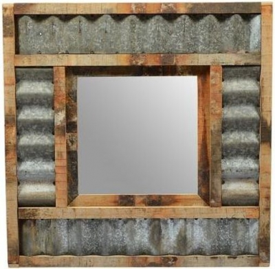Reclaimed Teak and Corrugated Iron Mirror