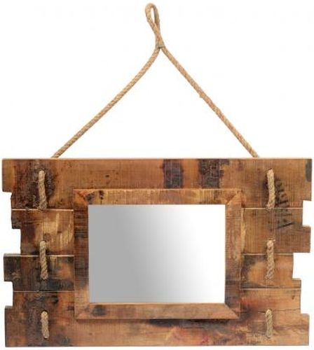 Reclaimed Teak Mirror with Rope