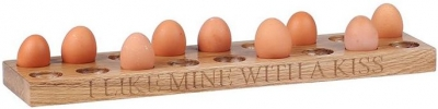 Oak Home Accessories Egg Holder For 18 Eggs with I Like Mine with A Kiss Engraved
