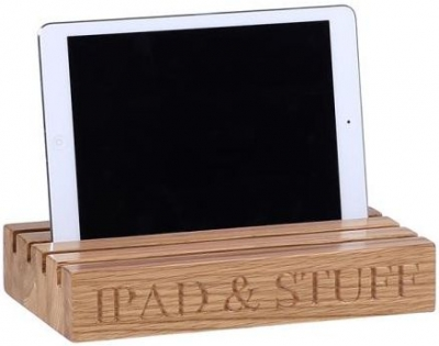 Oak Home Accessories Ipad and Letters Holder with Ipad and Stuff Engraved